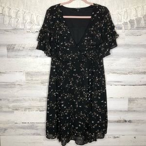 Torrid romantic chiffon ruffle floral black dress